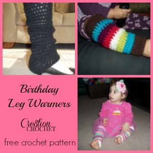 free crochet pattern Birthday Leg Warmers #cre8tioncrochet
