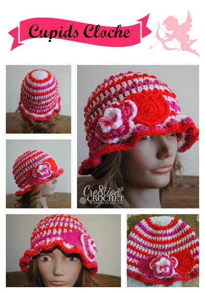 cupids cloche free crochet pattern brought to you by Cre8tion Crochet