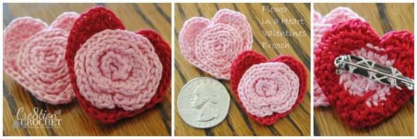 flower in a heart pin brooch