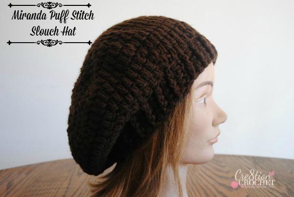 free crochet pattern Miranda puff stitch slouch