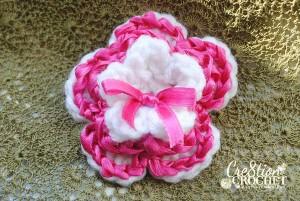 ribbon flower free crochet pattern