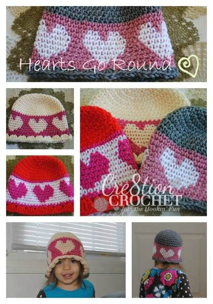 hearts go round hat