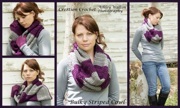 striped bulky cowl free crochet pattern