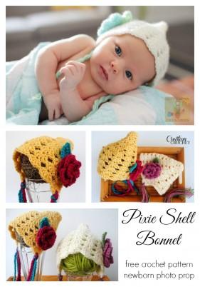 Pixie Shell Bonnet FREE crochet pattern #cre8tioncrochet #newborn #photoprop