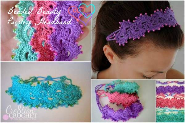 Beaded Beauty Paisley Headband FREE crochet pattern by Cre8tion Crochet