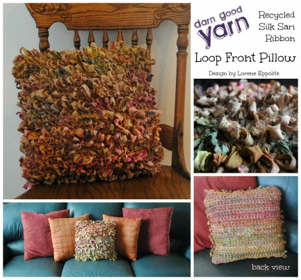 DGY Loop Front Pillow with back veiw by Lorene Eppolite