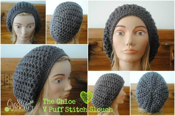 free crochet slouch hat pattern- the chloe- v puff stitch slouch by  cre8tion crochet a3da552521b