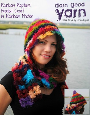 DGY Rainbow Rapture Hooded Scarf with side view