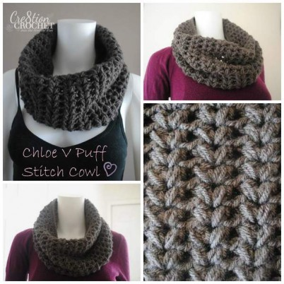 Chloe V Puff Stitch Cowl Free Pattern brought to you by Cre8tion Crochet
