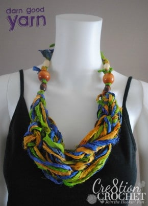 free arm knit necklace pattern using recycled silk sari ribbon from Darn Good Yarn brought to you by Cre8tion Crochet