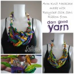 free pattern for arm knit necklace made with recycled silk sari ribbon #cre8tioncrochet #darngoodyarn