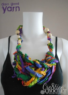 free pattern for arm knit necklace using recycled silk sari ribbon