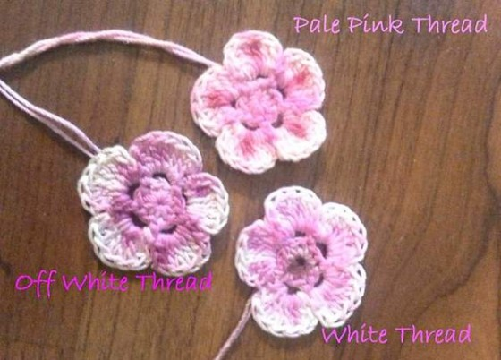11 flowers on different yarn