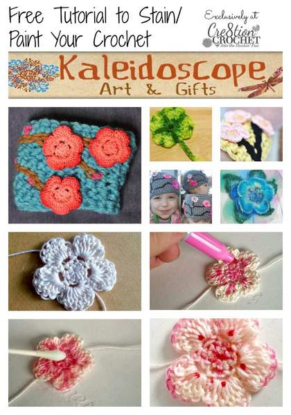 FREE tutorial ~ how to stain or paint your finished crochet peices by Kaleidoscope Arts & Gifts ~ exclusively for Cre8tion Crochet