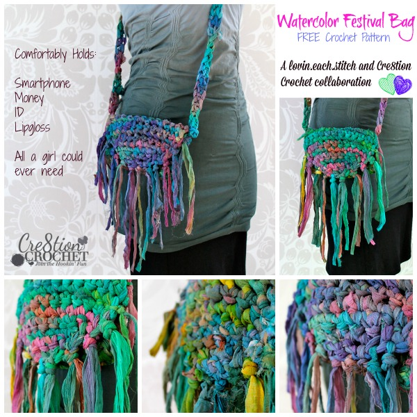 Watercolor Festival Bag free crochet pattern... holds all a girl could ever need  FREE pattern by lovin.each.stitch exclusively on Cre8tion Crochet