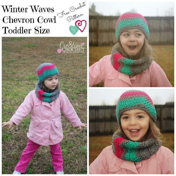 Winter Waves Chevron Cowl Toddler Sizes FREE crochet pattern #cre8tioncrochet