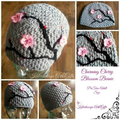 cherry blossom beanie