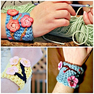 cherry blossom wrist cuff