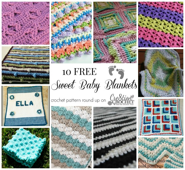 10 FREE Sweet Baby Blanket Patterns a round up on #cre8tioncrochet