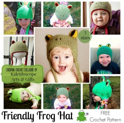 Friendly Frog Hat free crochet pattern #cre8tioncrochet #kaleidoscopearts&gifts