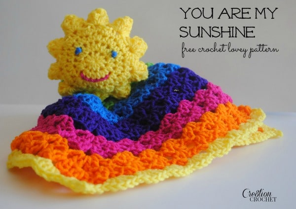 Free Crochet Pattern For Lovey Blankets : You Are My Sunshine Lovey - Cre8tion Crochet
