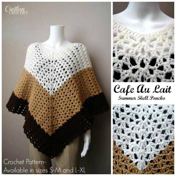 Cafe Au Lait Summer Shell Poncho FREE pattern for one weekend only.   Giveaway ends 04/11/14 at midnight.