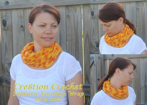12 sunburst vacation scarf as a cowl