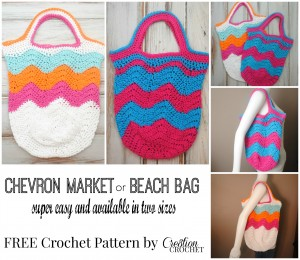 FREE crochet pattern Chevron Market Bag in two sizes #cre8tioncrochet
