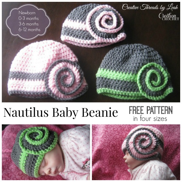 Nautilus Baby Beanie in four sizes FREE crochet pattern