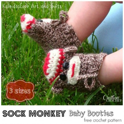 Sock Monkey Baby Booties free crochet pattern #cre8tioncrochet #kaleidoscope Art and Gifts 3 sizes