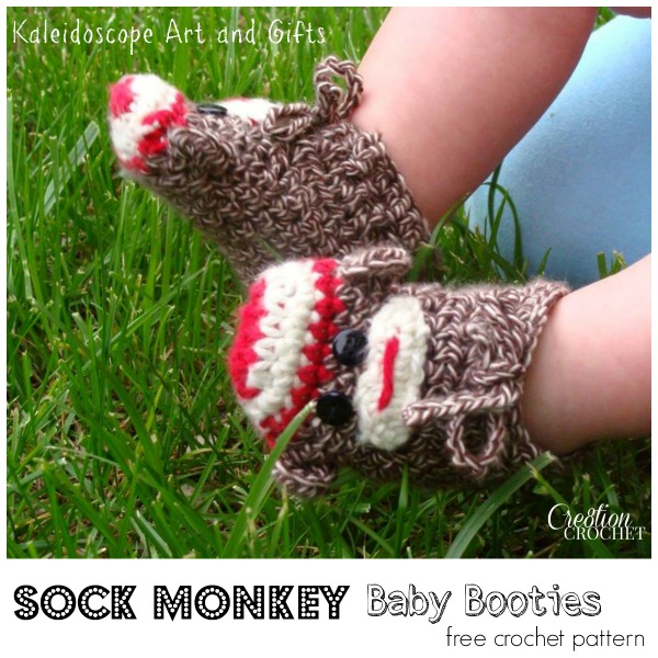 Sock Monkey Baby Booties free crochet pattern #cre8tioncrochet #kaleidoscope Art and Gifts