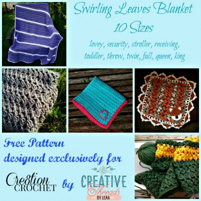Swirling Leaves Blanket in TEN sizes FREE crochet pattern