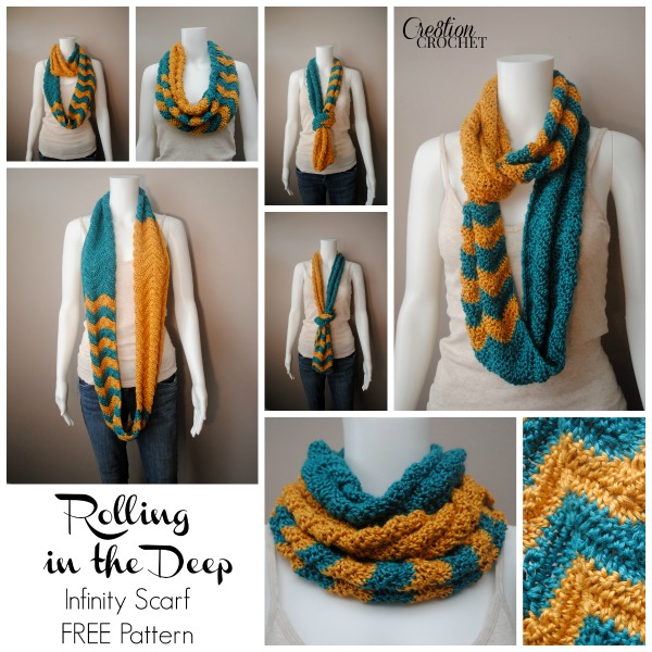 Rolling in the Deep Infinity Scarf FREE pattern with complete chart and print friendly PDF #cre8tioncrochet