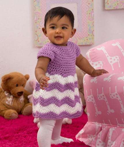 Baby Chevron Dress from Red Heart, designed by Lorene Eppolite of Cre8tion Crochet