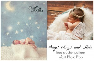 FREE crochet pattern Angel Wings and Halo Infant Photo Prop #cre8tioncrochet