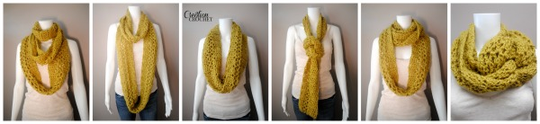 Free Pattern on Cre8tion Crochet- the Off Kilter Infinity Scarf