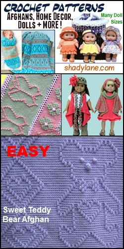 "15% off your Shady Lane pattern purchase when you use promo code ""cre8tion"""