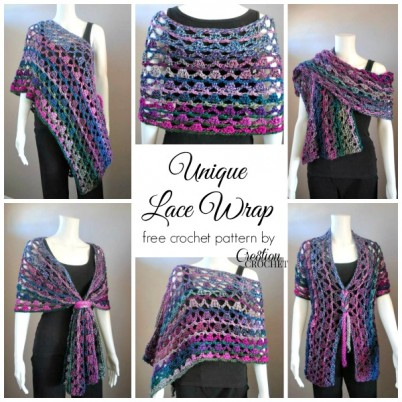 Unique Lace Wrap~ free multiwear pattern by #cre8tioncrochet