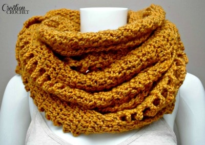 Braided and Broken Wrap worn as a cowl. Free pattern on Cre8tion Crochet.