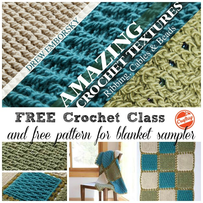 Free crochet class and patterns to make this blanket sampler ~ Amazing Crochet Textures