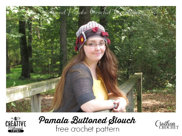 Pamela Buttoned Slouch FREE pattern by Creative Threads by Leah exclusively for Cre8tion Crochet