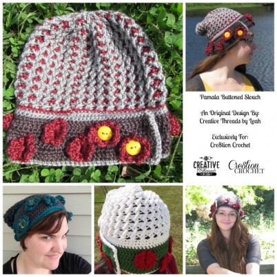 Pamela Buttoned Slouch FREE pattern designed by Creative Threads by Leah exclusively for Cre8tion Crochet