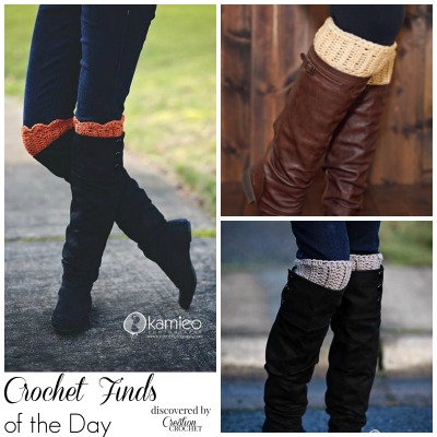 Crochet Find of the  Day by #cre8tioncrochet free crochet boot cuff pattern