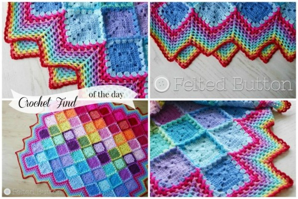 Crochet Find of the Day on Cre8tion Crochet ~ Happy Harlequin Blanket by Felted Button~
