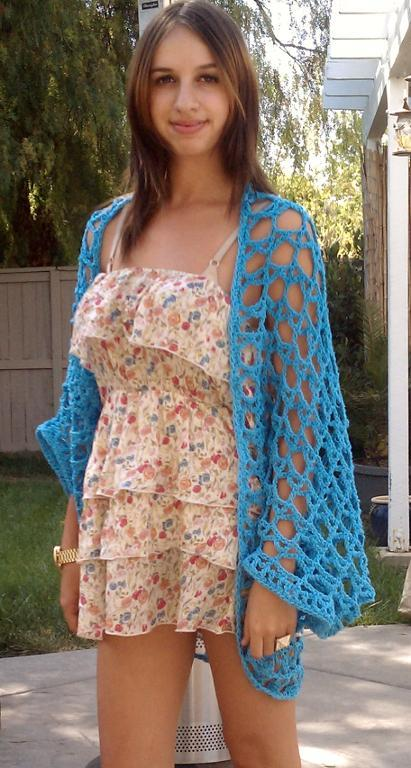 Hot Blue Shrug a free crochet shrug pattern