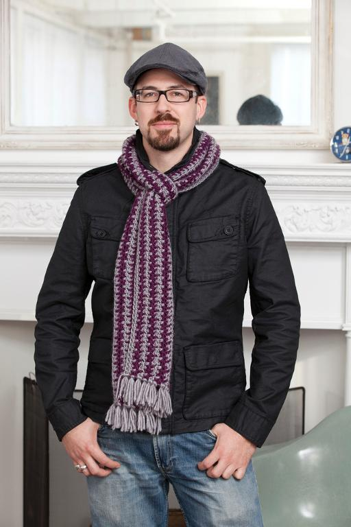 Purple Stitch Project Subway Scarf -free mens crochet scarf pattern on Crochet Finds of the Day by #cre8tioncrochet