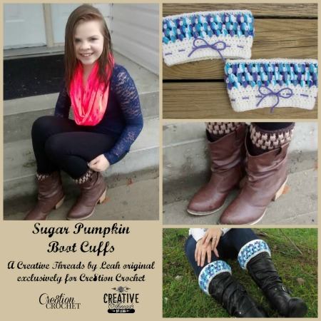 Sugar Pumpkin Boot Cuffs FREE pattern by Creative Threads by Leah, exclusively for Cre8ion Crochet