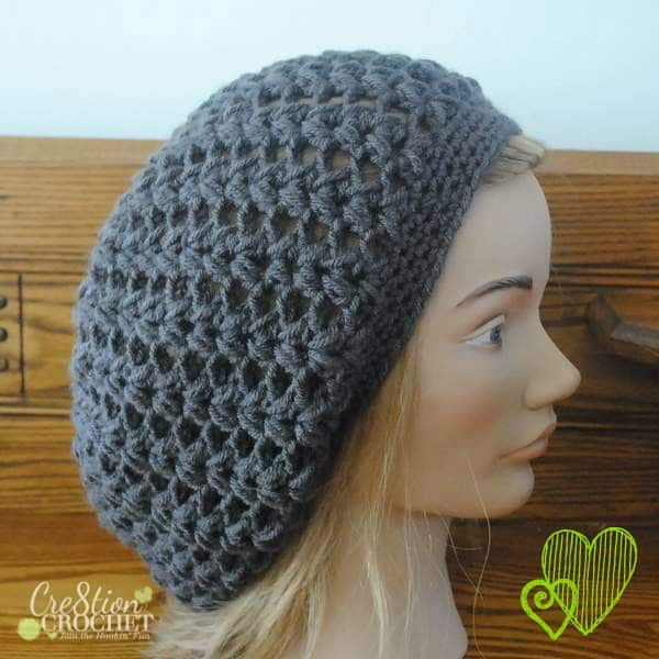 Chloe V Puff Slouchy Hat free pattern on #cre8tioncrochet