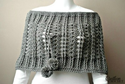 Cathedral Convertible Cowl Open on Shoulder with Pompoms crossed