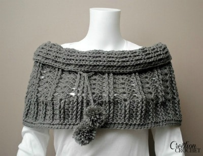 Cathedral Convertible Cowl half open on shoulders and pull up on top half, like a cowl collar